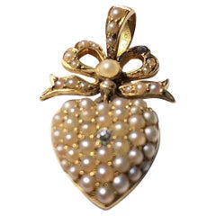 Victorian Diamond and Pearl 18 Carat Gold Pendant