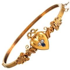 Victorian Heart Motif Bangle Bracelet
