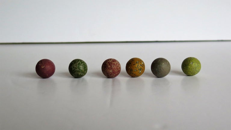Victorian Marble Solitaire Game with Mahogany Board and 32 Handmade Marbles For Sale 11