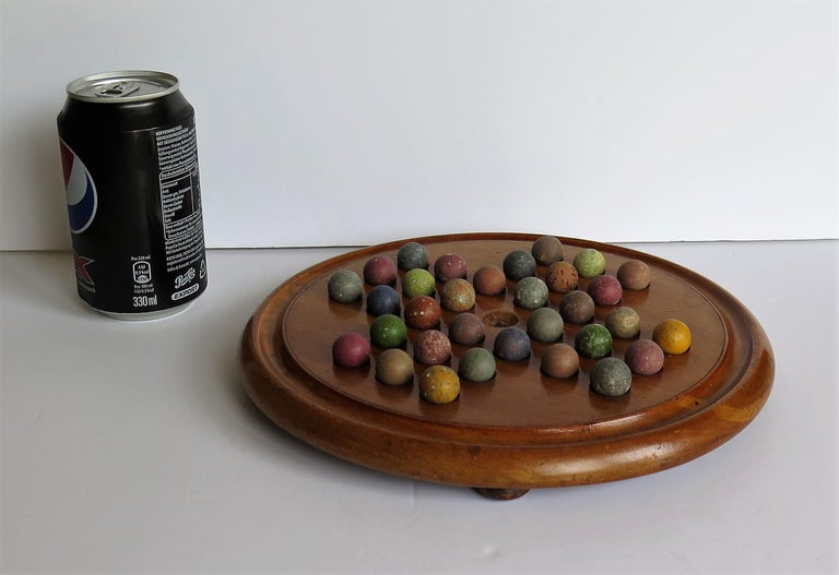 Victorian Marble Solitaire Game with Mahogany Board and 32 Handmade Marbles For Sale 12