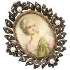 Victorian Miniature Portrait Pendant/Brooch Set in Silver and 18 Karat Gold