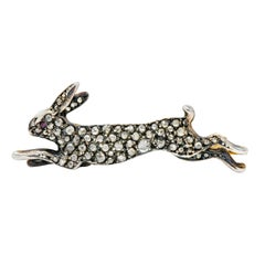 Victorian Rose Cut Diamond Silver-Topped Leaping Rabbit Hare Brooch