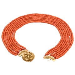Victorian Multi-Strand Red Coral 14 Karat Gold Beaded Necklace