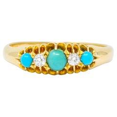 Victorian Turquoise Diamond 18 Karat Gold Band Ring
