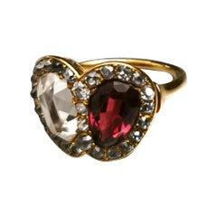 Victorian Vous et Moi Heart Diamond Rose Cut and Garnet Gold Ring