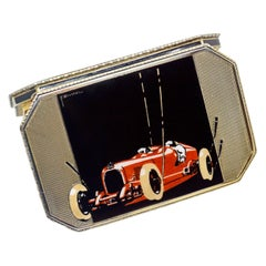 Vienna Enameled Austro Daimler Race Car Silver Cigarette Box F. Zwickl, 1920s