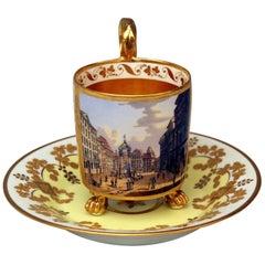 Vienna Imperial Porcelain Cup Saucer Gold Viennese Veduta Hoher Markt, 1815