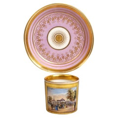 Vienna Imperial Porcelain Veduta Cup with Saucer Gold and Rose Hand Painted 1829