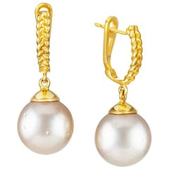 Vincent Peach White South Sea Pearl 18 Karat Gold Drop Earrings