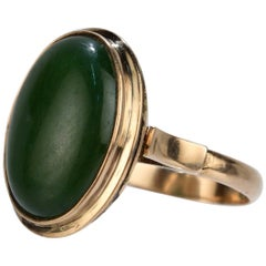 Vintage 14 Karat Gold and Nephrite Jade Ring
