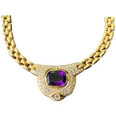 Vintage 18 K Gold Link Chain Necklace with Amethyst and Diamonds by Kurz Zurich