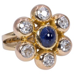 Vintage 18 Karat Gold, Sapphire and Diamond Ring, 1980s
