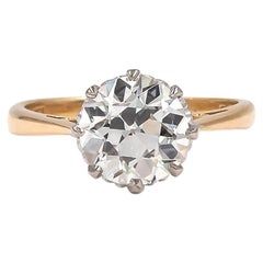 Vintage 1940s GIA Certified 1.70 Carat Diamond Solitaire Engagement Ring