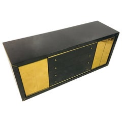 Vintage 1970s Italian Black Lacquer and Brass Sideboard