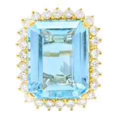 Vintage 30.50 Carat Aquamarine Diamond 18 Karat Gold Cluster Cocktail Ring