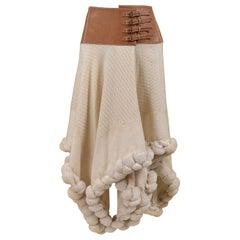 Vintage Alexander McQueen Cream Wool Skirt 2003