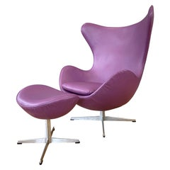 Vintage Arne Jacobsen for Fritz Hansen Leather Egg Chair & Footstool Set, 1960s
