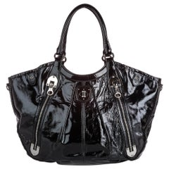 Vintage Authentic Alexander McQueen Black Patent Leather Tote Bag Italy w LARGE