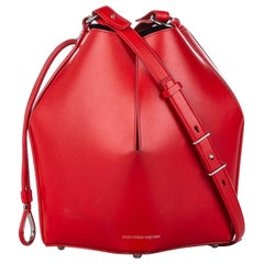 Vintage Authentic Alexander McQueen Leather The Bucket Bag w Dust Bag Pouch
