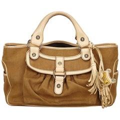 Vintage Authentic Celine Brown Jacquard Fabric Boogie Bag CHINA MEDIUM