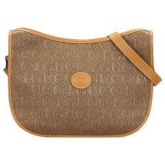 Vintage Authentic Gucci Light Canvas Fabric Crossbody Bag Italy MEDIUM