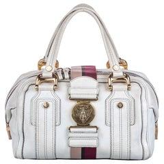 Vintage Authentic Gucci White with Multi Leather Aviatrix Handbag Italy MEDIUM