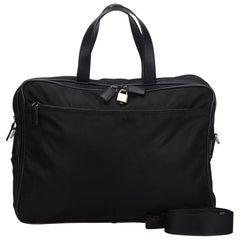 Vintage Authentic Prada Black Nylon Fabric Business Bag Italy w/ Padlock LARGE