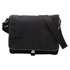 Vintage Authentic Prada Black Nylon Fabric Crossbody Bag Italy MEDIUM