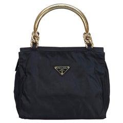 Vintage Authentic Prada Black Nylon Fabric Handbag Italy w MEDIUM