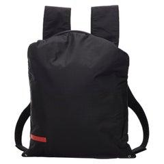 Vintage Authentic Prada Black Nylon Fabric Sports Backpack ITALY LARGE
