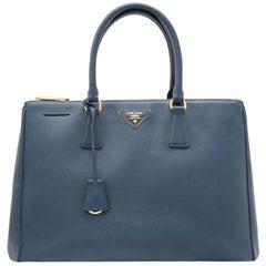 Vintage Authentic Prada Blue Leather Saffiano Galleria Satchel Italy w LARGE