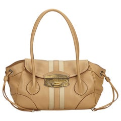 Vintage Authentic Prada Brown Beige Leather Shoulder Bag ITALY LARGE