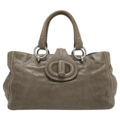 Vintage Authentic Prada Brown Calf Leather Vitello Shine Handbag Italy LARGE