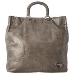 Vintage Authentic Prada Brown Leather Vitello Daino Satchel Italy LARGE
