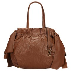 Vintage Authentic Prada Leather Bow Satchel w Dust Bag Authenticity Card MEDIUM