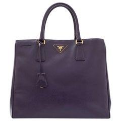 Vintage Authentic Prada Purple Saffiano Vernice Tote Bag Italy w LARGE