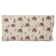 Vintage Authentic Prada White Ivory Fabric Printed Faille Clutch Italy SMALL