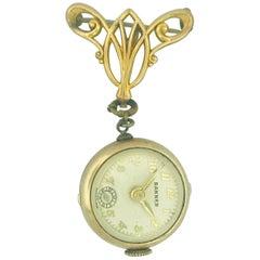 Vintage Banner 7 Jewel Swiss Watch Pin/Brooch, Skeleton Feature