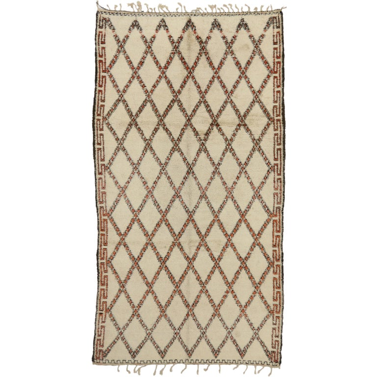 Vintage Beni Ourain Moroccan Rug with Modern Bauhaus Style and Hygge Vibes For Sale