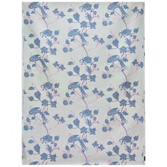 'Vintage Bird Trail' Contemporary, Traditional Fabric in Blue/Pink