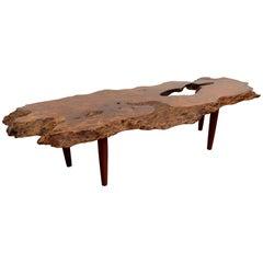Vintage Burled Live Edge Coffee Table