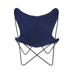 Vintage Butterfly Chair in Navy Fabric with Metal Frame