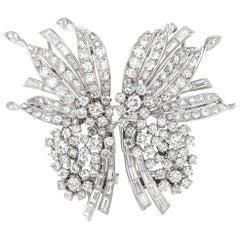 Retro Cartier Diamond Palladium Floral Double Clip Brooch Pin