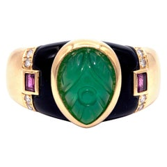 Vintage Cartier Gaia Emerald, Ruby and Diamond Ring