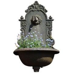 Vintage Cast Iron Wall Fountain / Planter Jardinière
