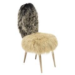 Vintage Chairs 1950 by U. Mascagni, Trasformed by Draga&Aurel, Fur, 21st Century