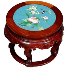 Vintage Chinese Cloisonne & Carved Mahogany Low Table, 20th Century