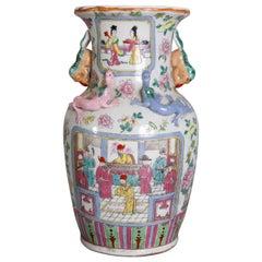 Vintage Chinese Figural Hand Enameled Porcelain Double Handle Vase, 20th Century