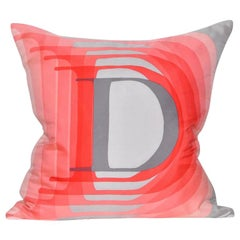 Vintage Christian Dior Silk Scarf with Irish Linen Cushion Pillow Red Gray Pink