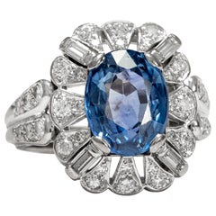 Vintage circa 1970 5.8 Carat Blue Sapphire and Diamond Cocktail Cluster Ring